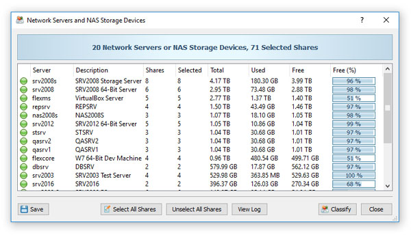 Classifying Files in Network Servers and NAS Storage Devices