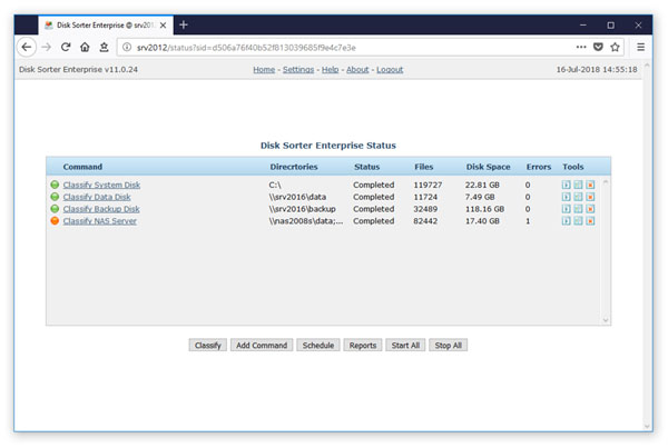 DiskSorter Enterprise Web-Based Interface